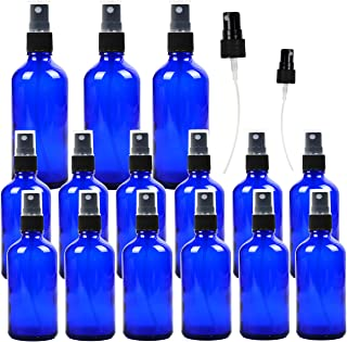 15 Pack Empty Cobalt Blue Glass Spray Bottles, 3 Pack 4 Ounce and 12 Pack 2 Ounce Refillable Containers for Essential Oils, Cleaning Products, Aromatherapy, Durable Black Fine Mist Sprayers