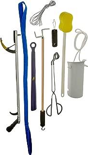 Sammons Preston 81603273 Kit de lujo para cadera/rodilla, kit de recuperación de alta calidad para cirugía total de rodilla o cadera, incluye alcance, elevador de piernas, ayuda para calcetines, calzador, ayuda para el baño, vestuario, gancho de botón, cordones para zapatos y esponja