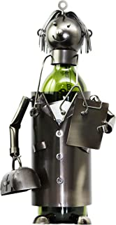 Ebros Gift General Doctor Physician On Duty Hand Made Metal Wine Bottle Holder Caddy Figurine for Surgeons Medics Caregivers Medical Physicians