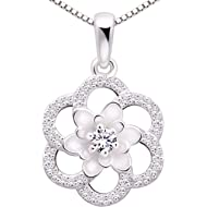 ALOV Jewelry Sterling Silver Love Peace Happiness Cubic Zirconia Pendant Necklace