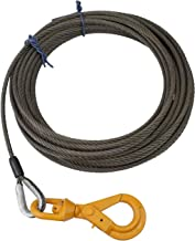 3/8'' x 50' Fiber Core Winch Cable Self Locking Swivel Hook Hoist Wire Wrecker
