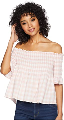 Susie Gingham Off the Shoulder Top