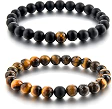 Couples Bracelets,Natural Stone Bead Bracelets-8mm Healing Balancing Beads Men Women Long Distance Bracelets for Him Her Friends at Birthday Valentine(2pcs/ Strong Elastic)