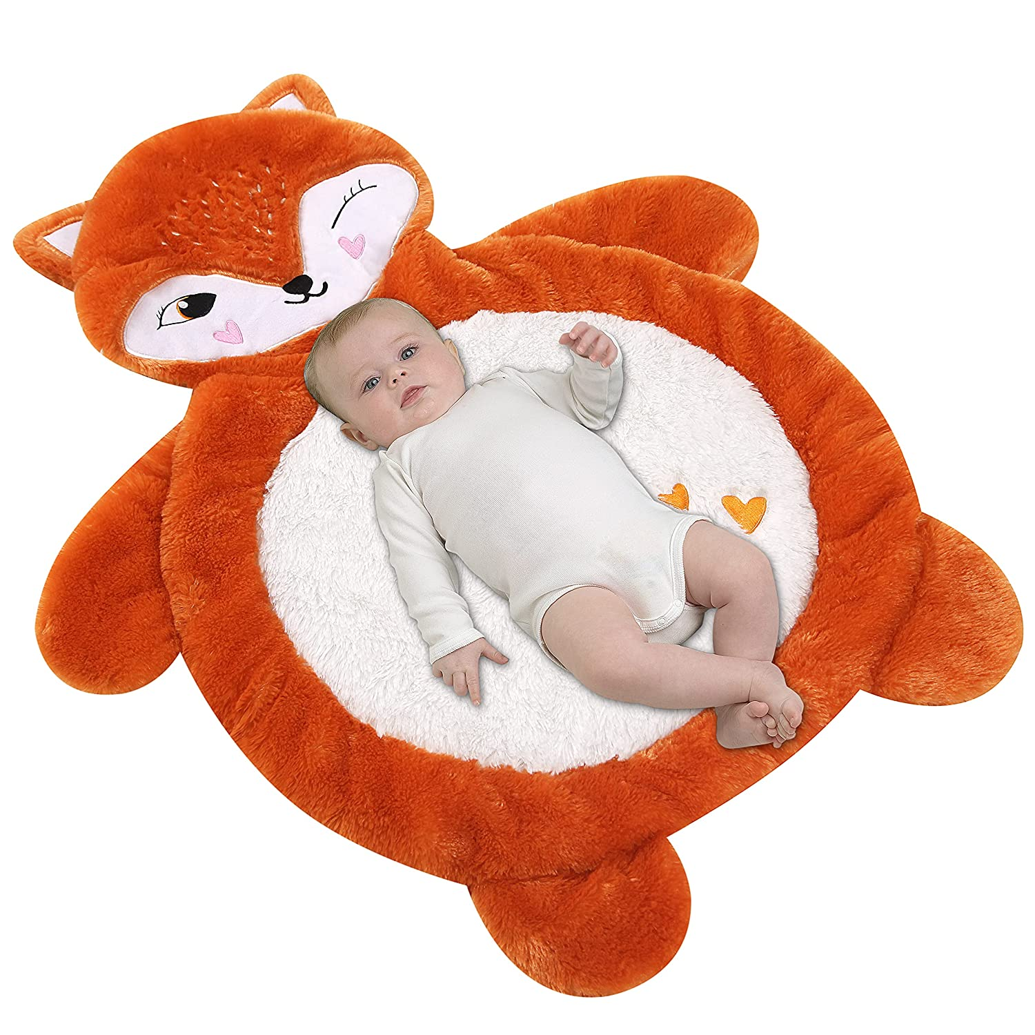 Baby Floor Mats for Infants, Fox Tummy Time Mat, Plush Baby Play Mat, Antiskid Stuffed Animal Baby Mat, Soft and Cozy Padded Newborn Playmats for Travel, Size 33x27.5in, Orange, White Fox