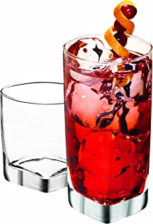 Anchor Hocking Rio Small and Large Drinking Glasses, 16-Piece Glassware Set