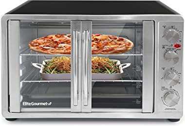 """Elite Gourmet ETO-4510M Double French Door Countertop Convection Toaster Oven, Bake Broil Toast Rotisserie Keep Warm 12""""-"""