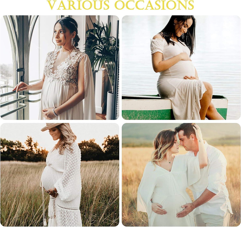 FEOYA Schwangerschaftskleid Maxi Umstandskleider Elegant Umstandsmode V-Ausschnitt Chiffonkleid Schwangere Fotoshooting Kost/üme