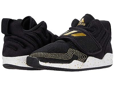 adidas Kids Deep Threat Basketball (Toddler) (Core Black/Footwear White/Gold Metallic) Kids Shoes