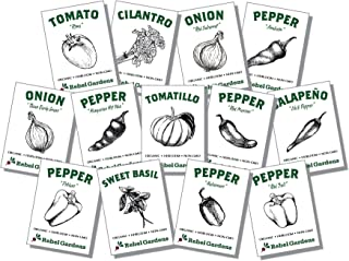 Organic Salsa Garden Seed Kit - 13 Varieties of Heirloom Non-GMO Vegetable and Herb Seeds - Tomatoes, Peppers, and Onions