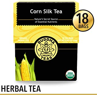 Organic Corn Silk Tea, 18 Bleach-Free Tea Bags - Caffeine Free, Natural Source of Vitamins and Antioxidants, Supports Urinary Tract Health, Non-GMO