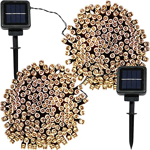 high quality Sunnydaze Set of 2, 68 new arrival Foot 200-Count Solar Powered String high quality Lights Outdoor Decorative, Warm White online