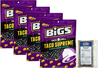 Taco Bell Taco Supreme Sunflower Seeds by BIGS, 5.35 Ounce (Pack of 4) - with 2 Ounce Bag of By The Cup Sunflower Kernels