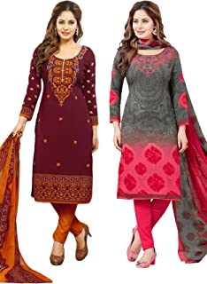 Salwar Studio Women's Pack of 2 Synthetic Unstitched Dress Material Combo-MONSOON-2155-2169