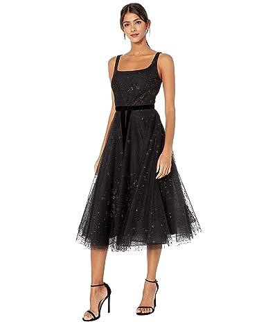 Marchesa Notte Sleeveless Glitter Tulle Tea-Length Gown w/ Velvet Ribbon Waist Trim (Black) Women