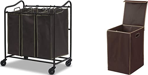 high quality Simple Houseware Heavy Duty 3-Bag outlet sale Laundry Sorter lowest Rolling Cart + Foldable Laundry Hamper Basket with Lid, Brown outlet sale