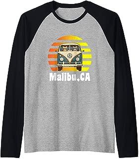 Malibu CA Road Trip Distressed Retro Vintage Hippie Van Raglan Baseball Tee