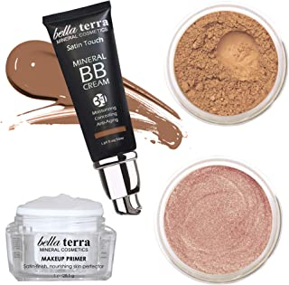 Bella Terra Mineral Powder Foundation (Chestnut), Mineral Bronzer (Sensual), BB Cream (Dark Tan 107), Make Up Primer
