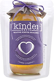 Water Kefir Grains by The Kinder Company | Live Organic Starter Culture Kit | Make 1/2 gallon carbonated water kefir or co...