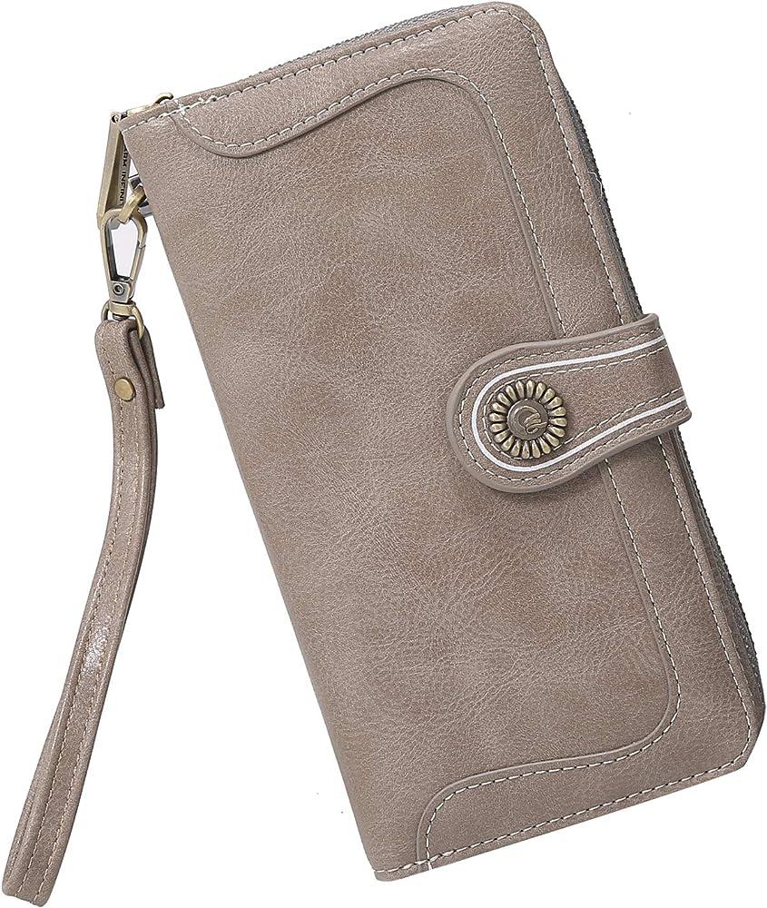 Y yongyuan portafoglio porta carte di credito per donna in ecopelle grigio Misterioso