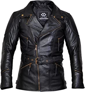 Gallanto 3/4 Eddie Black Mens Long Leather Biker Jacket - Leather Jackets Mens Sale