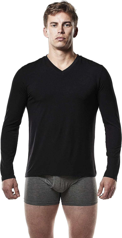 Mr. Davis Men's Long Sleeve Viscose Undershirt Layer Bamboo Base Shipping Popular brand included