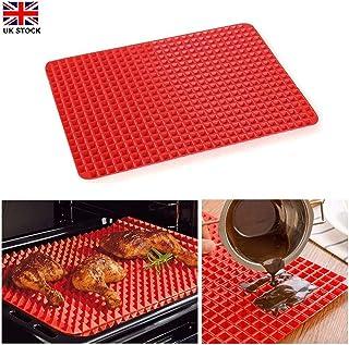 Tapete de silicona para horno, diseño de pirámide antiadherente, 1/2 paquete, reduce la cocción saludable, resistente al calor, para barbacoa de parrilla, 15.1 x 10.6 pulgadas, color rojo 1 pack rosso