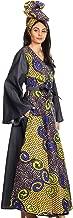 Sakkas Mica Women's Boho Maxi Loose Long Chambray African Wrap Dress with Pockets