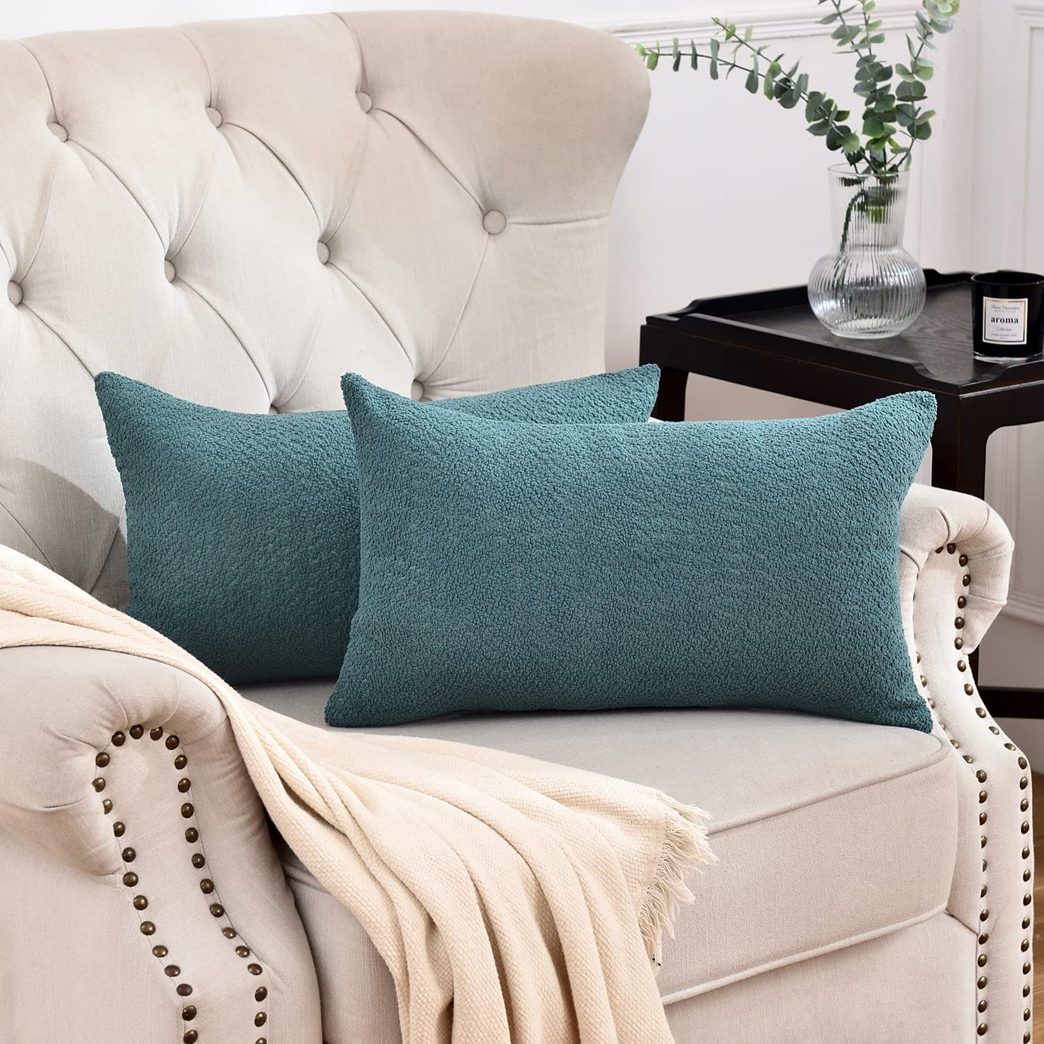 Rythome Teal Green Decorative Max 65% OFF Boucle Pillow Max 43% OFF Throw Textured Cover