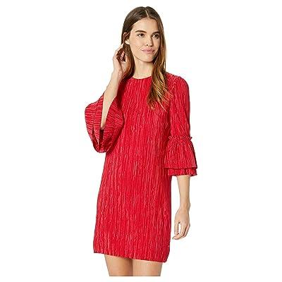 Badgley Mischka Pleated Sack Dress (Red) Women
