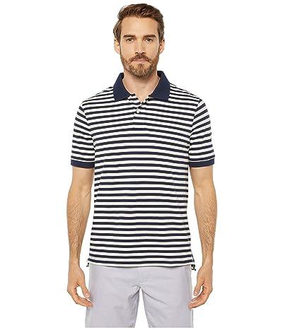 J.Crew Heritage Pique Nautical Stripe Short Sleeve Polo (Navy/Ivory Nautical Stripe) Men
