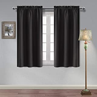 Homedocr Thermal Insulated Black Blackout Curtains Sun Blocking and Noise Reducing Room Darkening Window Curtains for Bedroom and Living Room, 42 x 45 Inches Length, 2 Curtain Panels