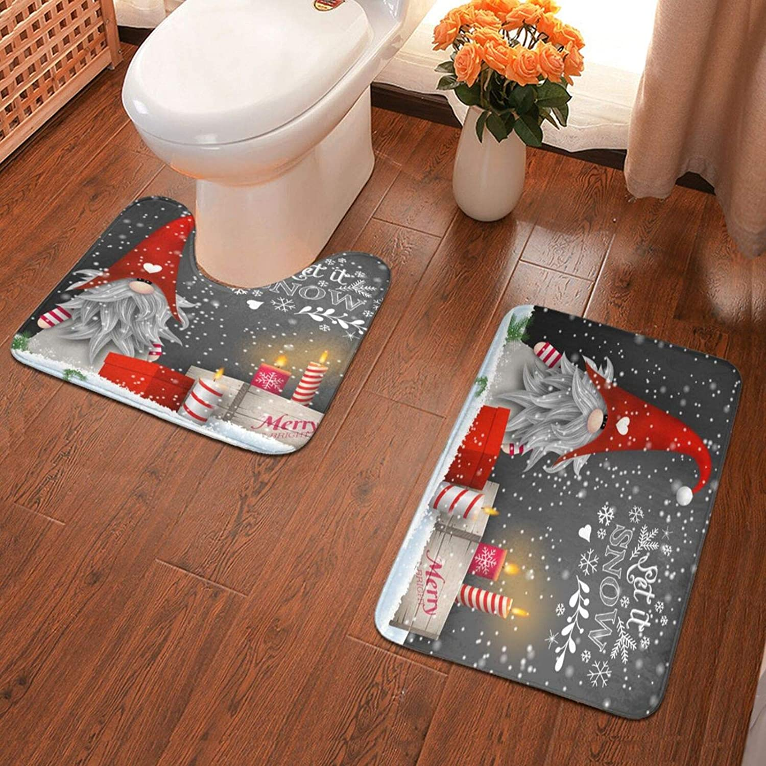 Amazon Com Merry Christmas Gnome Xmas Gifts Winter Snowflakes Bath Rugs Set Of 2 U Shaped Toilet Mat With Non Slip Backing For Bathroom Decor Kitchen Dining