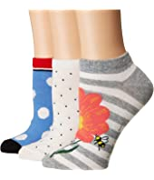 Kate Spade New York - Floral Bee 3-Pack No Show Socks