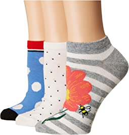 Floral Bee 3-Pack No Show Socks