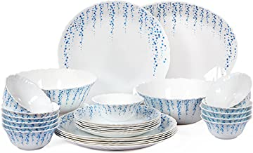 Cello Imperial Sky Fall Opalware Dinner Set, 27 Pieces, White