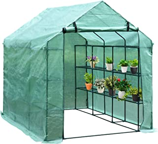 Outsunny 8' x 6' x 7' Portable Water/UV Fighting Outdoor Walk-in Greenhouse Garden Hot House with 18 Shelves, Weather Cove...