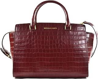 Michael Kors Selma Embossed Leather Large Top Zip Satchel Shoulder Bag Purse Handbag