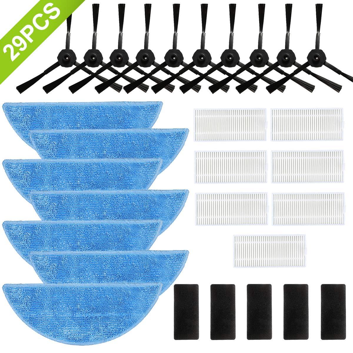 SAFETYON Accesorios para Robot Aspirador ILIFE V3 V5 V5S V5S Pro (29 Piezas) - 10 Cepillo Lateral + 7 Filtro HEPA + 7 Mop + 5 Velcro: Amazon.es: Hogar