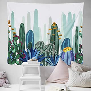 HOMKUU Cactus Wall Tapestry, Bohemian Hippie Tapestry Psychedelic Indian Wall Hanging Tapestry for Home Decor Bedroom Living Room, Medium 59x51 Inches