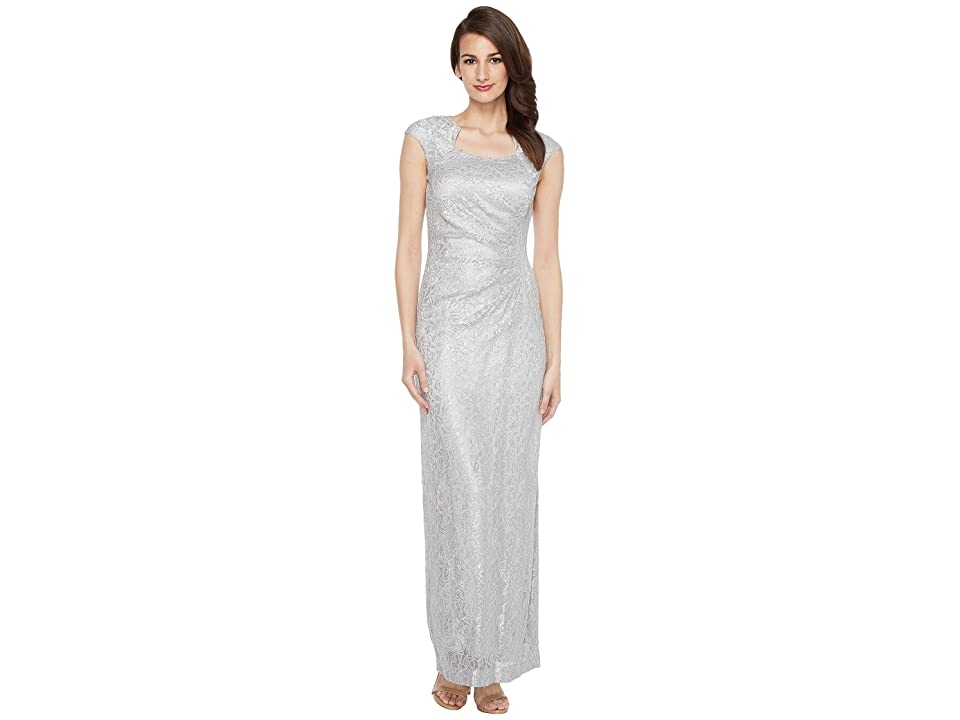 Tahari by ASL Horseshoe Neck Lace Gown (Silver) Women