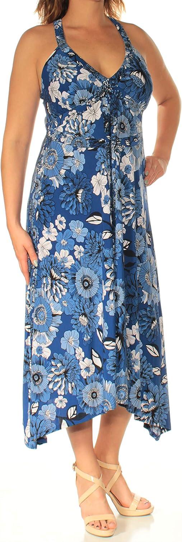 Inc Womens bluee Floral Sleeveless V Neck TeaLength Trapeze Dress US Size  S