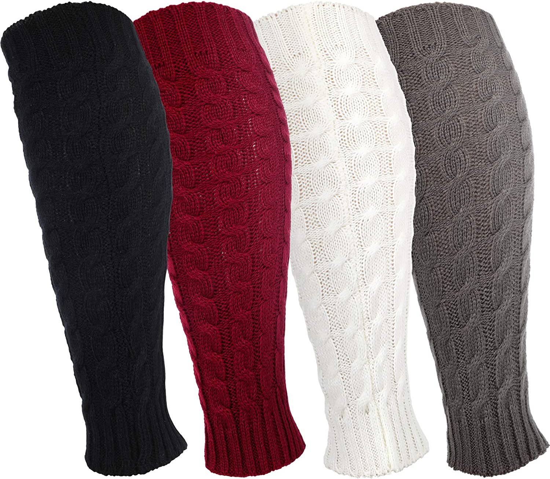 4 Pairs Leg Warmers Knitted Crochet Long Boot Socks for Women Favors (Black, White, Gray, Burgundy)