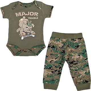 Jolt TC U.S.M.C. Devil Dog 2pc Baby Boys Major Trouble Bodysuit Pants Set Woodland MARPAT Camo