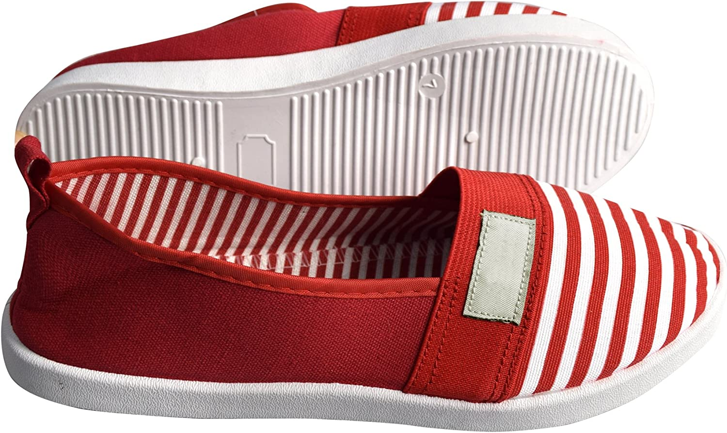 Peach Couture Striped Lightweight Canvas Classic Casual Slip On shoes Sneakers