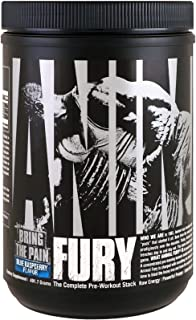 Animal Fury - Pre Workout Powder Supplement for Energy and Focus - 5g BCAA, 350mg Caffeine, Nitric Oxide, Without Creatine - Powerful Stimulant for Bodybuilders - Blue Raspberry - 30 Servings