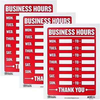 Pack of 3 Bazic SG/_B00KKJQO6K/_US 9 Inch X 12 Inch Business Hours Sign