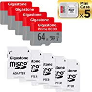 Gigastone Micro SD Card 64GB 5-Pack Micro SDHC U1 C10 with Mini Case and MicroSD SD Adapter High...