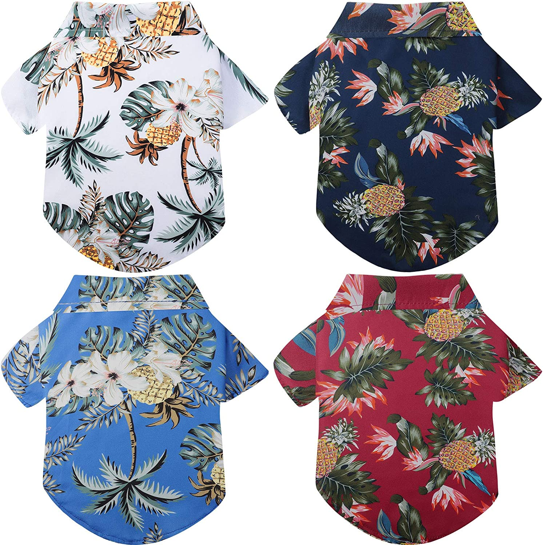 4 Pieces Pet Ranking TOP4 Shirts Hawaiian Tree Coconut T-Shirts Seattle Mall Beach Dog