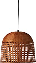 Stone & Beam Modern Woven Bamboo Basket Ceiling Pendant Chandelier Fixture With Light Bulb - 15.5 x 15.5 x 75 Inches, 60 Inch Cord