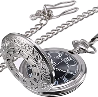 Mudder Vintage Roman Numerals Scale Quartz Pocket Watch with Chain